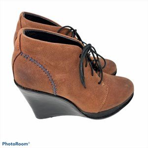 Rag & Bone brown leather wedge  lace-up ankle boot
